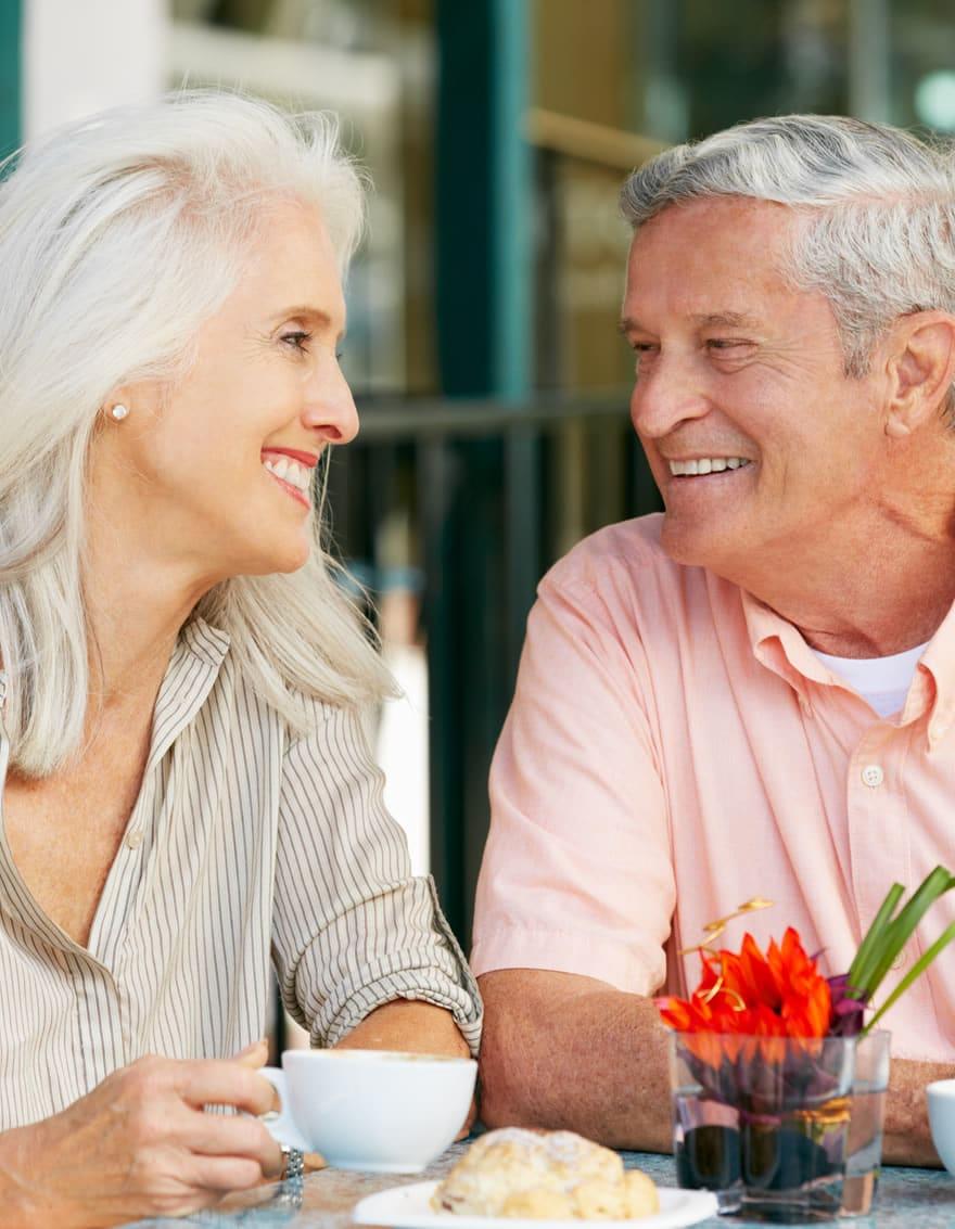 senior couple at brunch